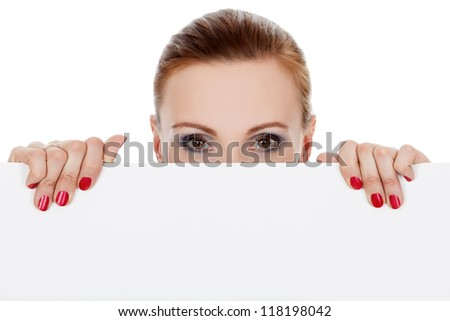 woman looking over white background, isolated on white background. Main focus is on the hands - stock photo