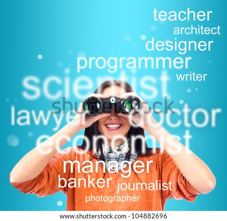 Woman looking through binoculars for specialty to study or job. People at job market concept - stock photo