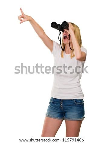 Woman Looking Through Binoculars On White Background - stock photo