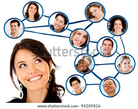 Woman looking to her social network  - isolated over a white background - stock photo