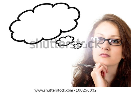 Woman lost in thoughts. Idea cloud with copy space isolated on white