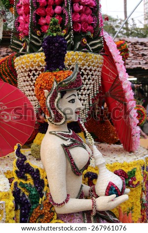 Woman made from flowers, The 39th Chiang Mai Flower Festival 2015.