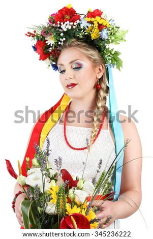 woman makeup with flowers on white background, spring concept - stock photo