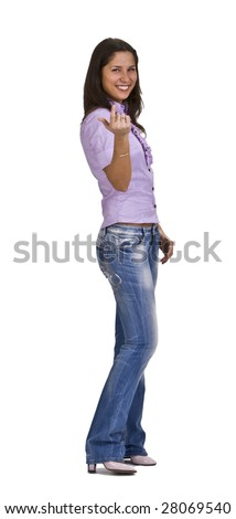 Woman making a specific gesture: come over here. - stock photo