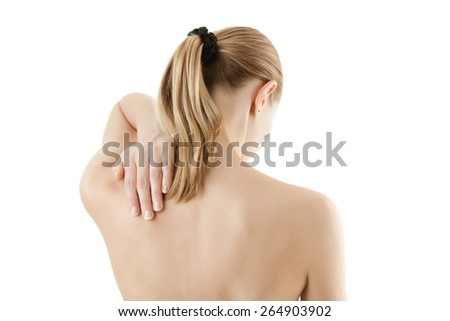 Woman massaging pain back