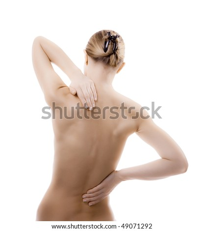 Woman massaging pain neck and back