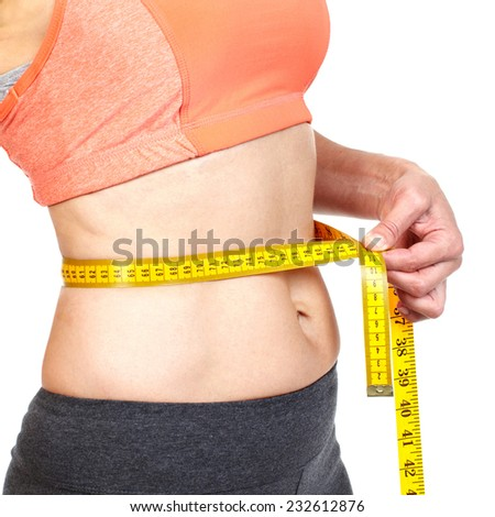 Woman measuring her body. Diet and healthy lifestyle