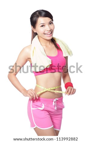 Woman measuring shape of beautiful waist with smile after sport for Healthy lifestyles concept isolated on white background, model is a asian beauty - stock photo