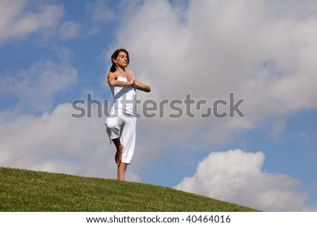 woman meditating at the park in harmony with nature - stock photo