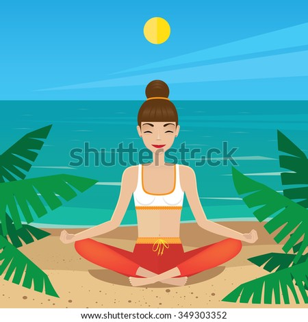 Woman meditating in lotus pose at midday - inner peace concept. Raster version of illustration