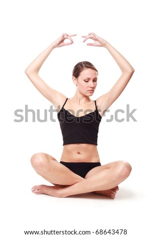 Woman meditating on a white background.