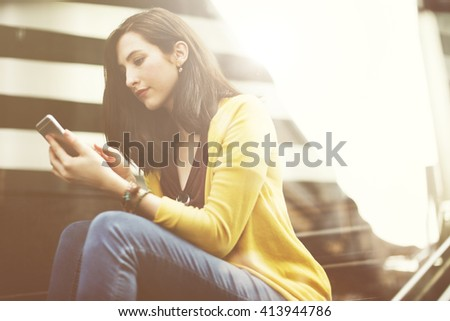 Woman Mobile Phone Connection Waiting City Technology Concept - stock photo