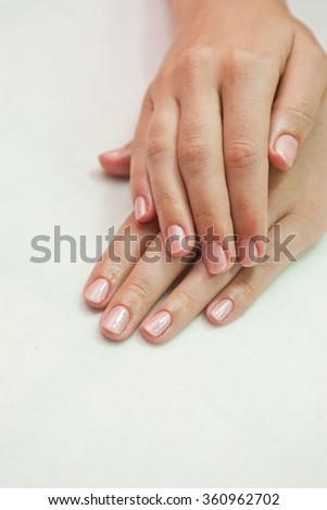 woman nails closeup - stock photo