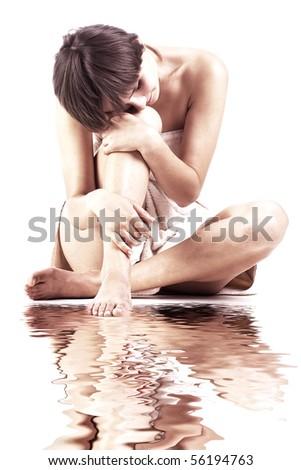 woman near water - stock photo