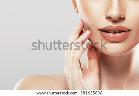 Woman neck shoulder lips nose  - stock photo
