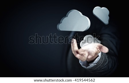 Woman offering cloud computing concept