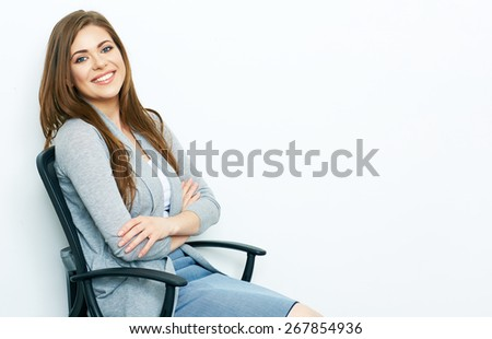 woman office worker sitting in chair. smiling business woman isolated portrait on white. - stock photo