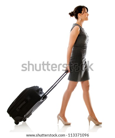 Woman on a business trip - isolated over a white background - stock photo