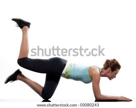 woman on Abdominals workout posture on white background. Plank Bent Leg Raise - stock photo