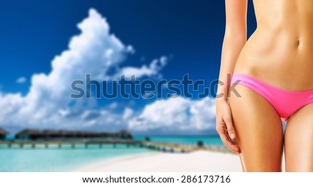 Woman on beautiful beach with water bungalows at Maldives. Collage. - stock photo
