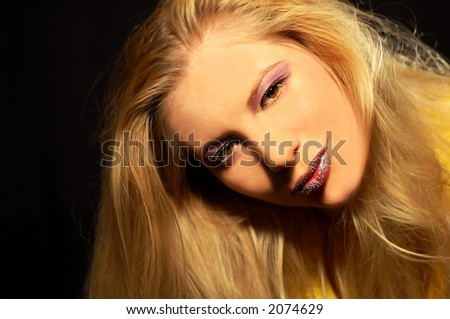 Woman on black background