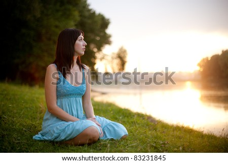 woman on lake - stock photo