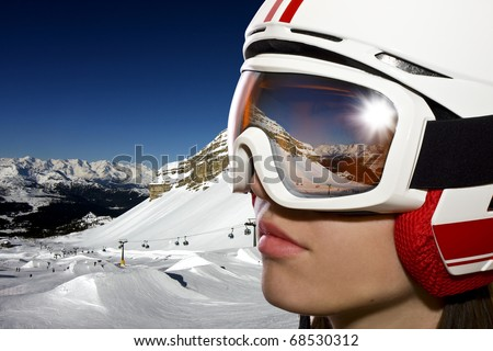 Woman on ski - stock photo