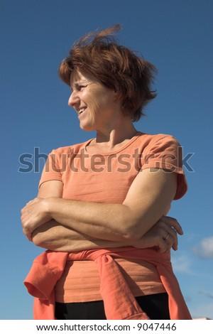 woman on sun - stock photo