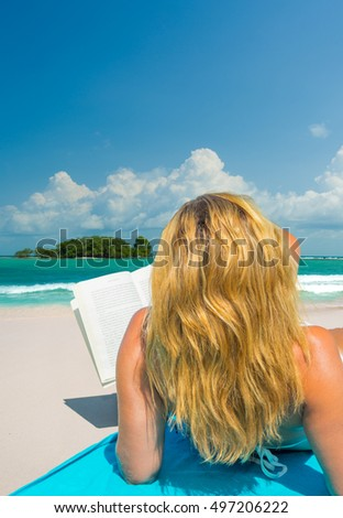 Woman on the beach in the tropical Thailand
