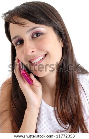 woman on the phone isolated over a white background