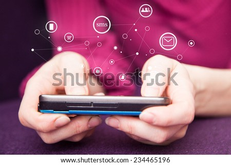 Woman on the phone with added graphic connection icons - stock photo