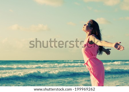 woman on the seaside - stock photo