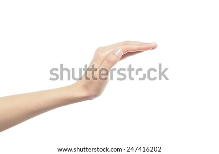 Woman open hand cover isolated on white background - stock photo