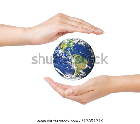 woman open hands surrounding the Earth on white (Earth image by NASA at visibleearth.nasa.gov) - stock photo