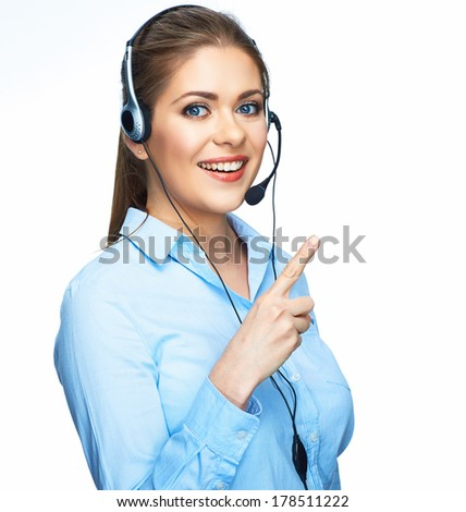 Woman operator finger pointing on white isolated background. - stock photo