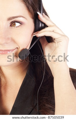 Woman operator with headset