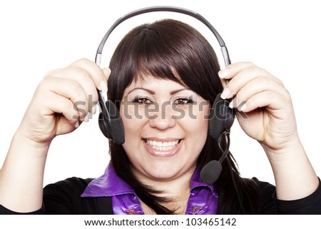 Woman operator with headset on isolated background