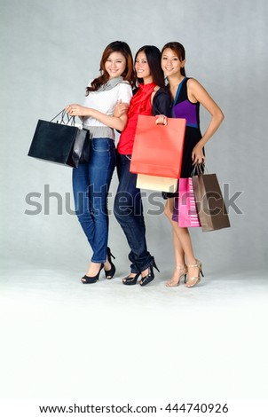 Woman or Group of shopping woman on background