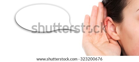 Woman over white background listening to news in speech bubble. - stock photo