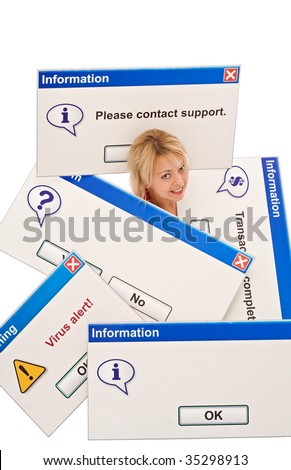 Woman overrun by tech problems - information technology concept, isolated - stock photo