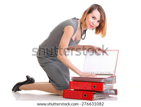 woman Overworked businesswoman holding plenty of documents isolated white red folder