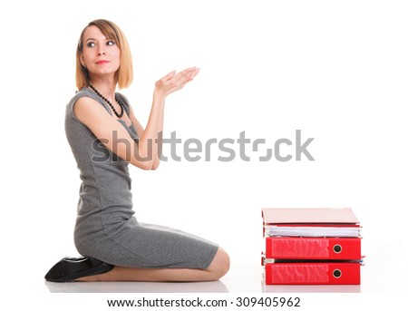 woman Overworked businesswoman holding plenty of documents isolated white red folder - stock photo
