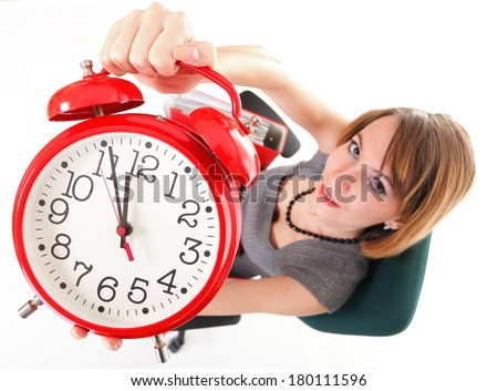 woman Overworked businesswoman holding red clock isolated white red folder, time management concept - stock photo