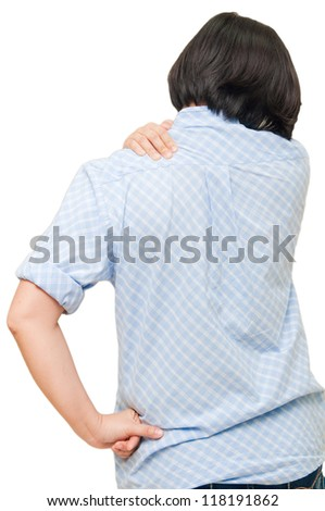 woman pain her neck - stock photo