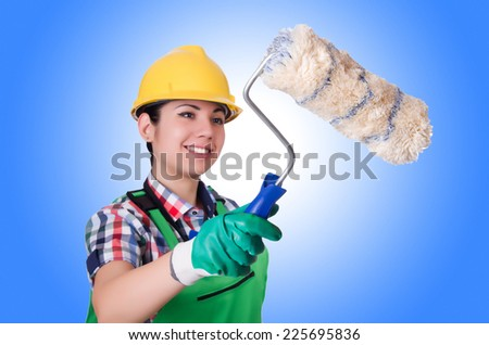 Woman painter isolated on white - stock photo