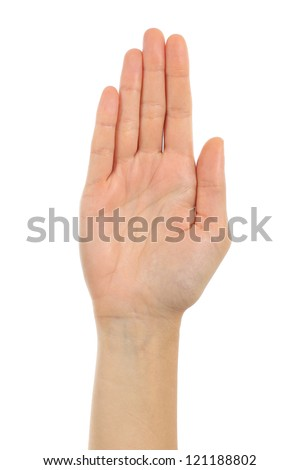 Woman palm hand in front with a white isolated background - stock photo