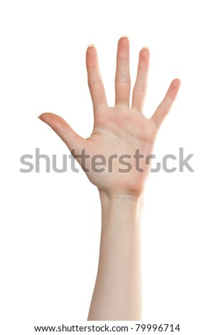 Woman palm showing number five - stock photo