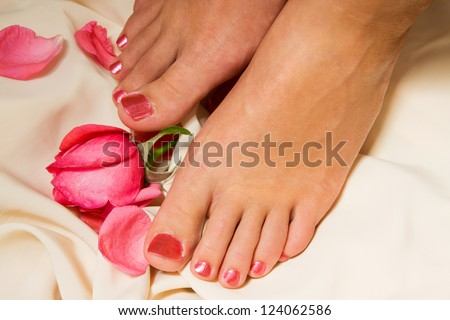 Woman pedicure arranged with rose and leafs - stock photo