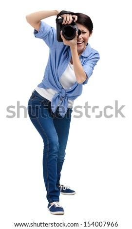 Woman-photographer takes photos, isolated on white - stock photo