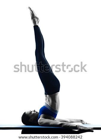 woman pilates exercises fitness isolated - stock photo